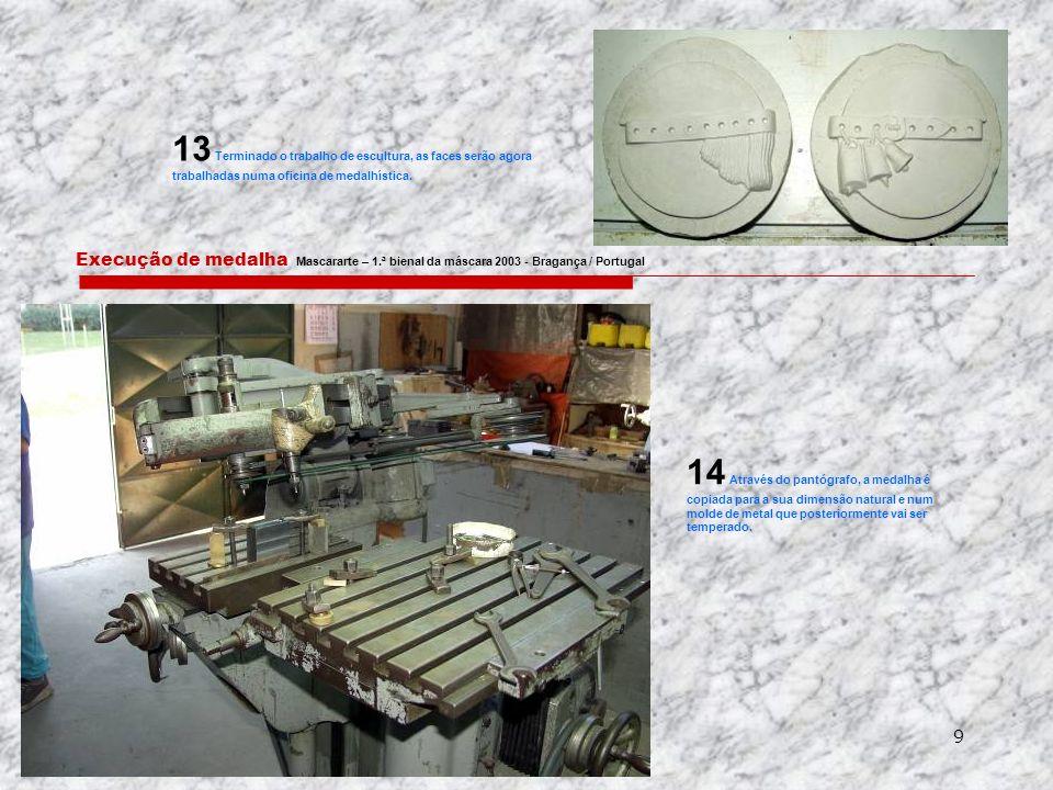 9 Execução de medalha Mascararte – 1.ª bienal da máscara 2003 - Bragança / Portugal 13 Terminado o trabalho de escultura, as faces serão agora trabalhadas numa oficina de medalhística.