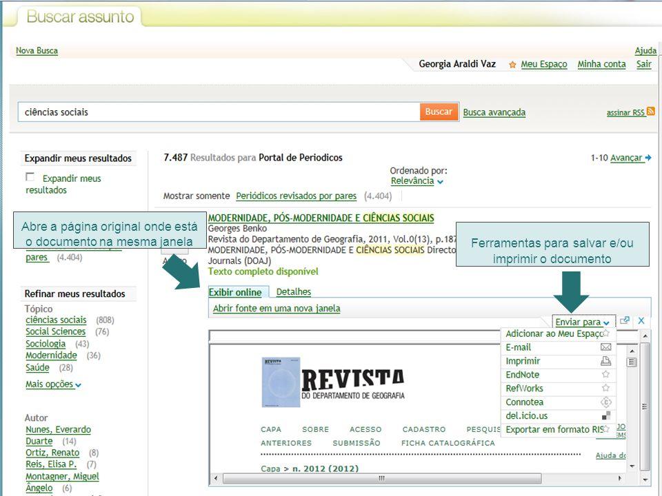 Abre a página original onde está o documento na mesma janela Ferramentas para salvar e/ou imprimir o documento