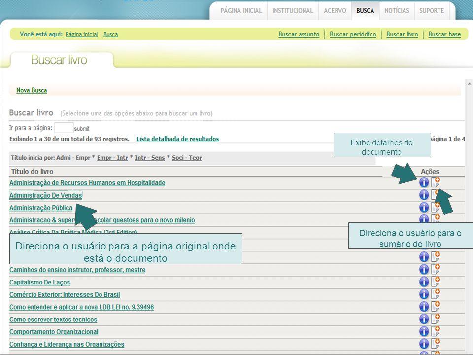 Direciona o usuário para a página original onde está o documento Direciona o usuário para o sumário do livro Exibe detalhes do documento
