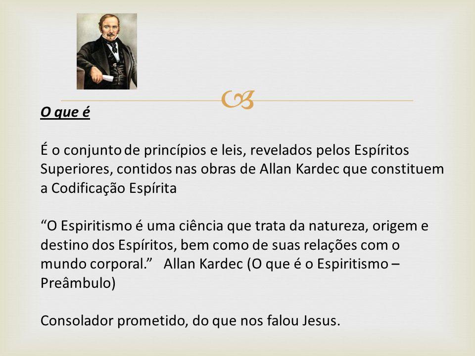 O que é É o conjunto de princípios e leis, revelados pelos Espíritos Superiores, contidos nas obras de Allan Kardec que constituem a Codificação Espír