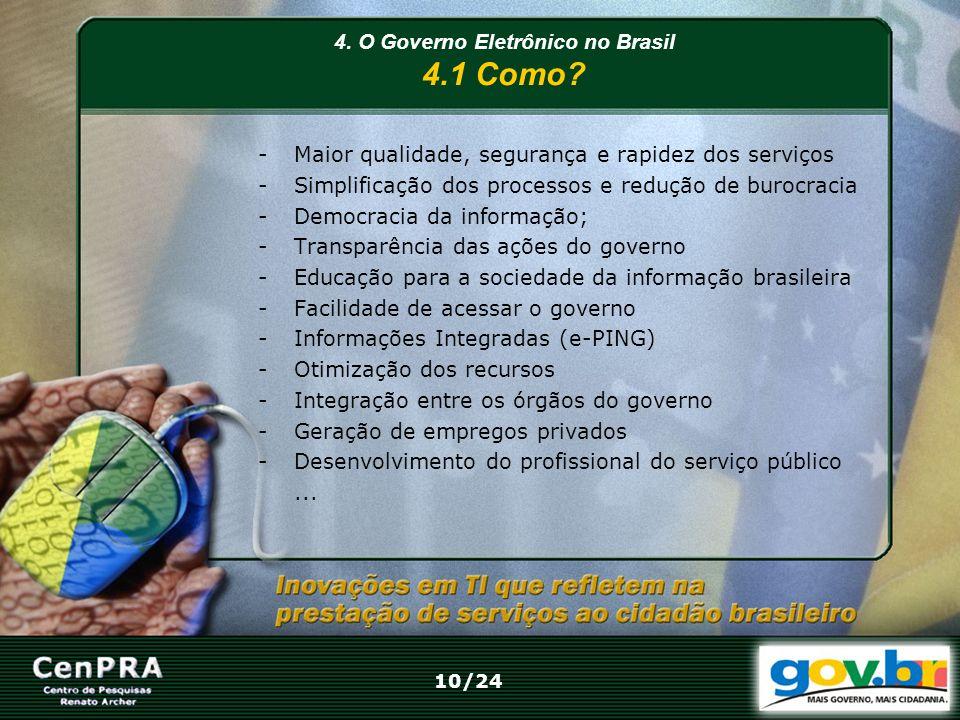 4. O Governo Eletrônico no Brasil 4.1 Como? -Maior qualidade, segurança e rapidez dos serviços -Simplificação dos processos e redução de burocracia -D