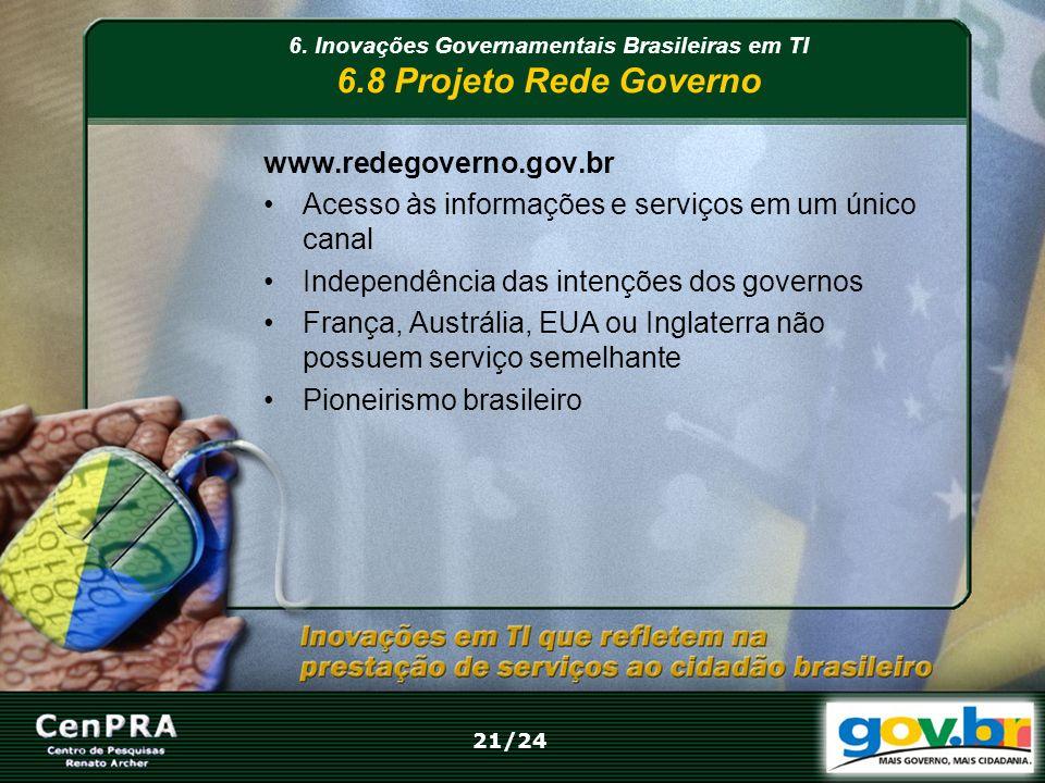 www.redegoverno.gov.br Acesso às informações e serviços em um único canal Independência das intenções dos governos França, Austrália, EUA ou Inglaterr