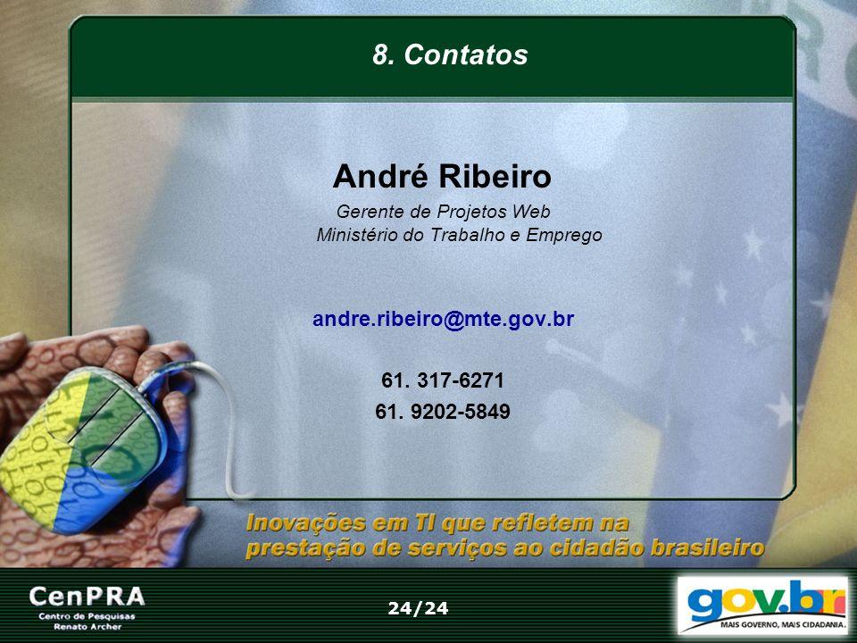 André Ribeiro Gerente de Projetos Web Ministério do Trabalho e Emprego andre.ribeiro@mte.gov.br 61. 317-6271 61. 9202-5849 8. Contatos 24/24