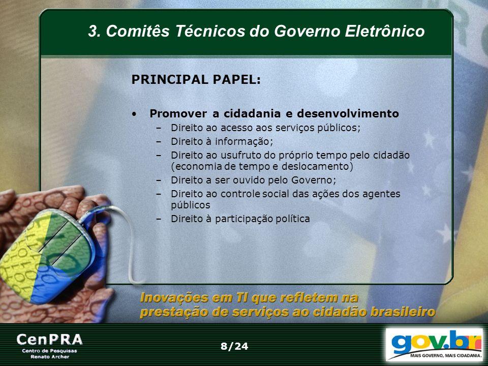 3. Comitês Técnicos do Governo Eletrônico PRINCIPAL PAPEL: Promover a cidadania e desenvolvimento –Direito ao acesso aos serviços públicos; –Direito à