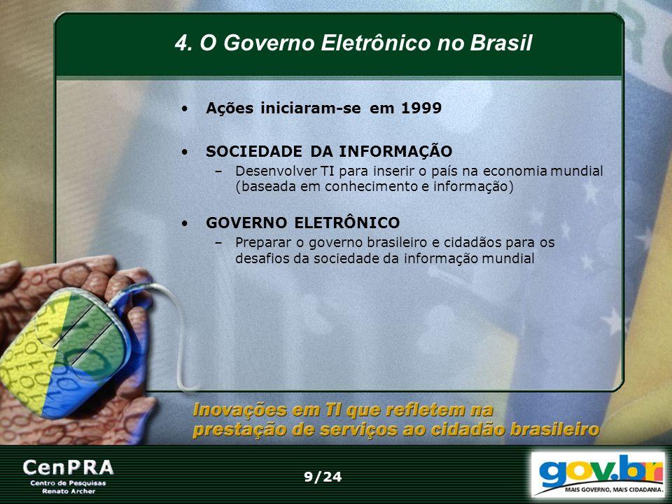 4. O Governo Eletrônico no Brasil Ações iniciaram-se em 1999 SOCIEDADE DA INFORMAÇÃO –Desenvolver TI para inserir o país na economia mundial (baseada