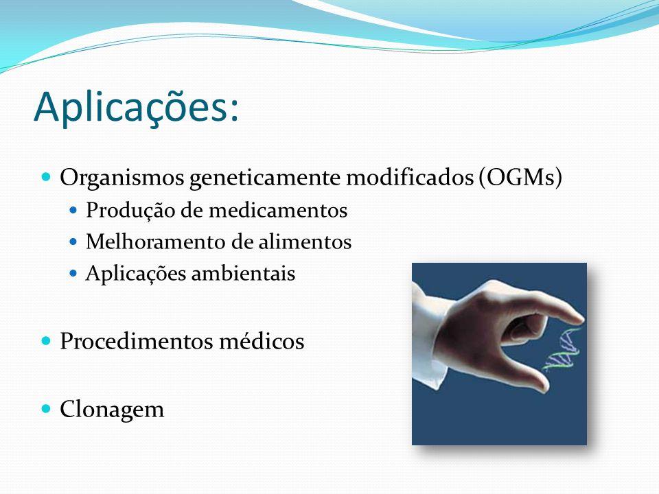 Aplicações: Organismos geneticamente modificados (OGMs) Produção de medicamentos Melhoramento de alimentos Aplicações ambientais Procedimentos médicos Clonagem