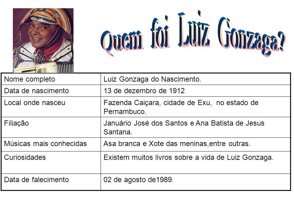 Nome completoLuiz Gonzaga do Nascimento. Data de nascimento13 de dezembro de 1912 Local onde nasceuFazenda Caiçara, cidade de Exu, no estado de Pernam