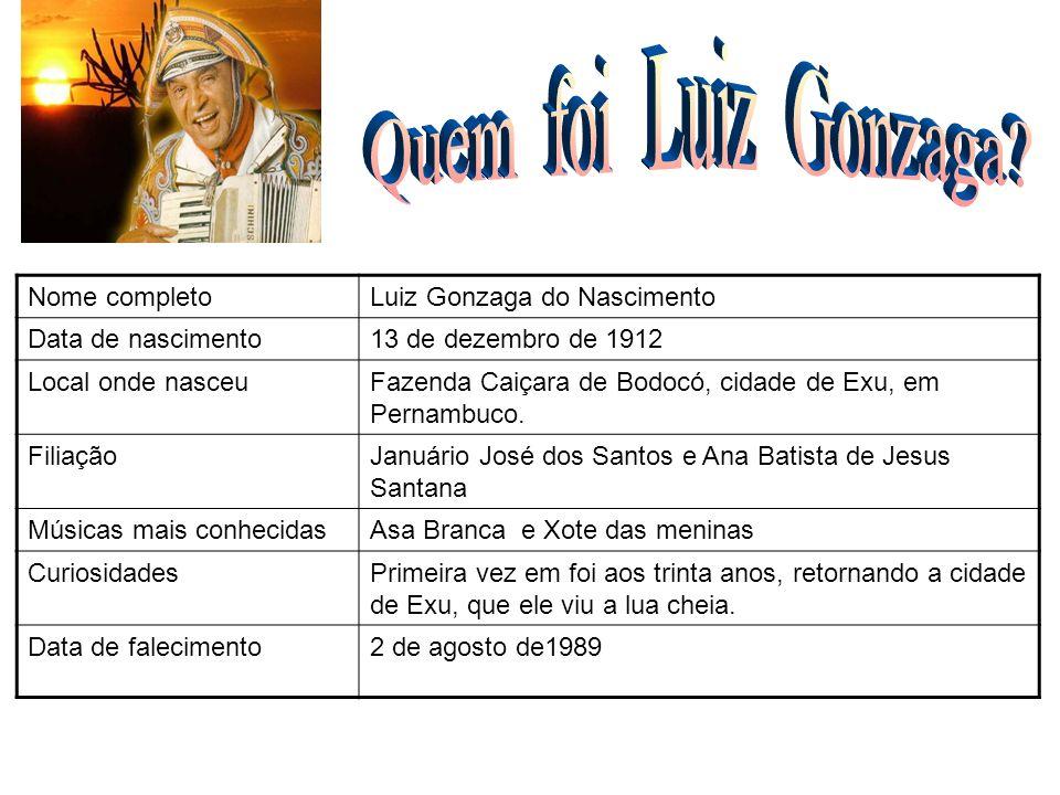 Nome completoLuiz Gonzaga do Nascimento Data de nascimento13 de dezembro de 1912 Local onde nasceuNa fazenda Caiçara, cidade de Exu, em Pernambuco.