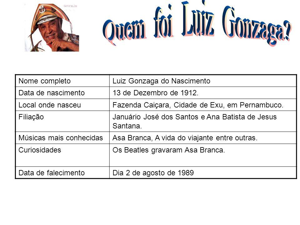 Nome completoLuiz Gonzaga do Nascimento Data de nascimento13 de Dezembro de 1912. Local onde nasceuFazenda Caiçara, Cidade de Exu, em Pernambuco. Fili
