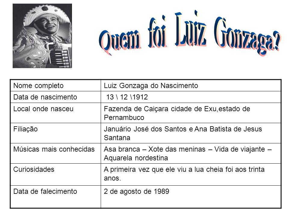 Nome completoLuiz Gonzaga do Nascimento Data de nascimento 13 \ 12 \1912 Local onde nasceuFazenda de Caiçara cidade de Exu,estado de Pernambuco Filiaç