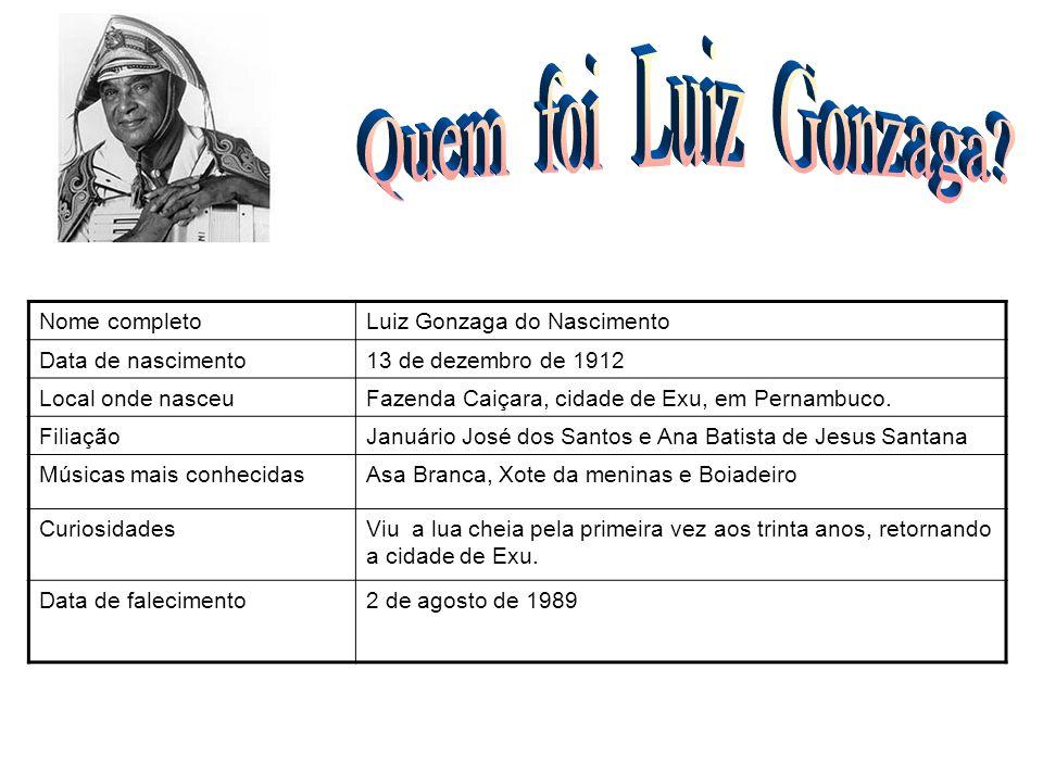 Nome completoLuiz Gonzaga do Nascimento Data de nascimento13 de dezembro de 1912 Local onde nasceuFazenda Caiçara, cidade de Exu, em Pernambuco. Filia