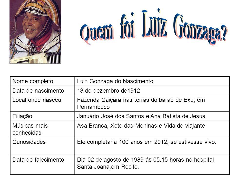 Nome completoLuiz Gonzaga do Nascimento Data de nascimento13 de dezembro de1912 Local onde nasceuFazenda Caiçara nas terras do barão de Exu, em Pernam
