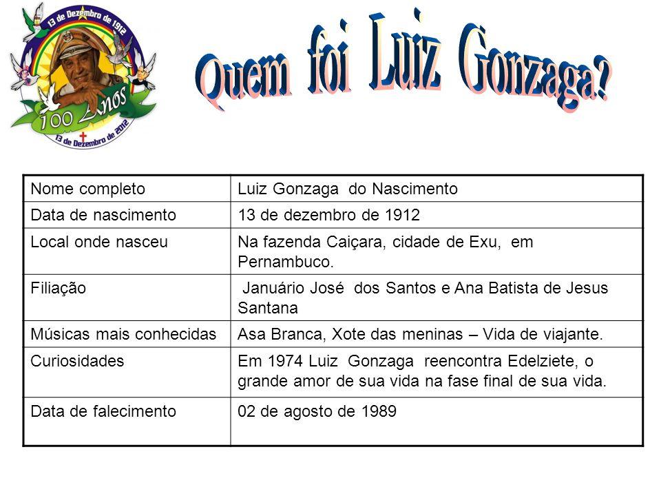 Nome completoLuiz Gonzaga do Nascimento Data de nascimento13 de dezembro de 1912 Local onde nasceuNa fazenda Caiçara, cidade de Exu, em Pernambuco. Fi