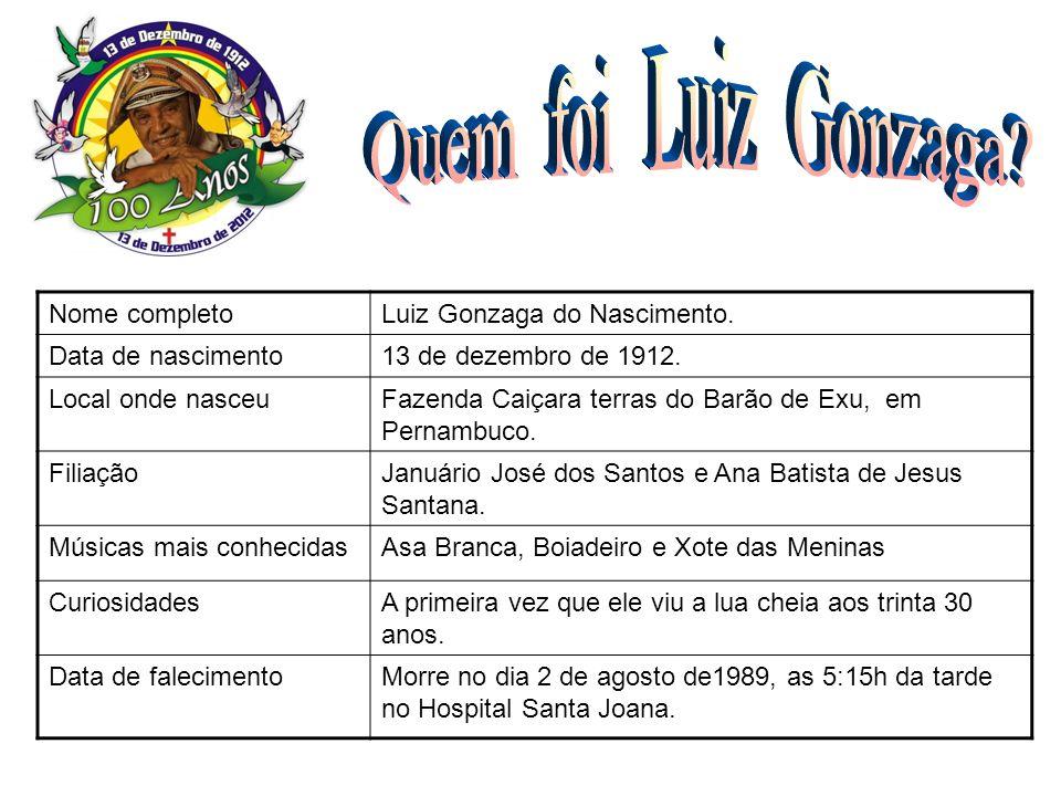 Nome completoLuiz Gonzaga do Nascimento. Data de nascimento13 de dezembro de 1912. Local onde nasceuFazenda Caiçara terras do Barão de Exu, em Pernamb