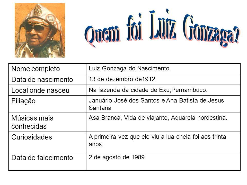 Nome completo Luiz Gonzaga do Nascimento. Data de nascimento 13 de dezembro de1912. Local onde nasceu Na fazenda da cidade de Exu,Pernambuco. Filiação