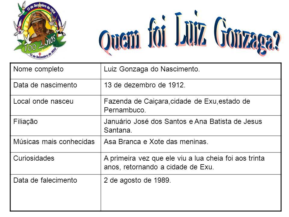 Nome completoLuiz Gonzaga do Nascimento. Data de nascimento13 de dezembro de 1912. Local onde nasceuFazenda de Caiçara,cidade de Exu,estado de Pernamb