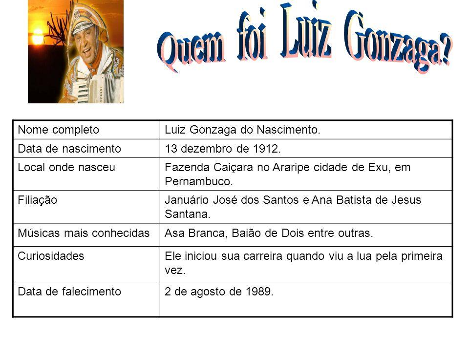 Nome completoLuiz Gonzaga do Nascimento. Data de nascimento13 dezembro de 1912. Local onde nasceuFazenda Caiçara no Araripe cidade de Exu, em Pernambu