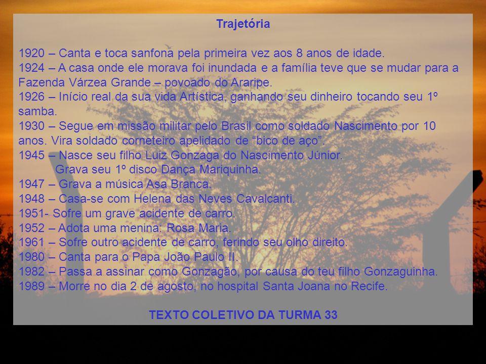 Nome completoLuiz Gonzaga do Nascimento Data de nascimento13 de dezembro de 1912 Local onde nasceuFazenda Caiçara, cidade de Exu, em Pernambuco.