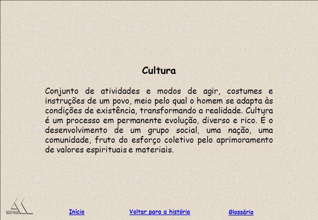 Cultura Conjunto de atividades e modos de agir, costumes e instruções de um povo, meio pelo qual o homem se adapta às condições de existência, transfo