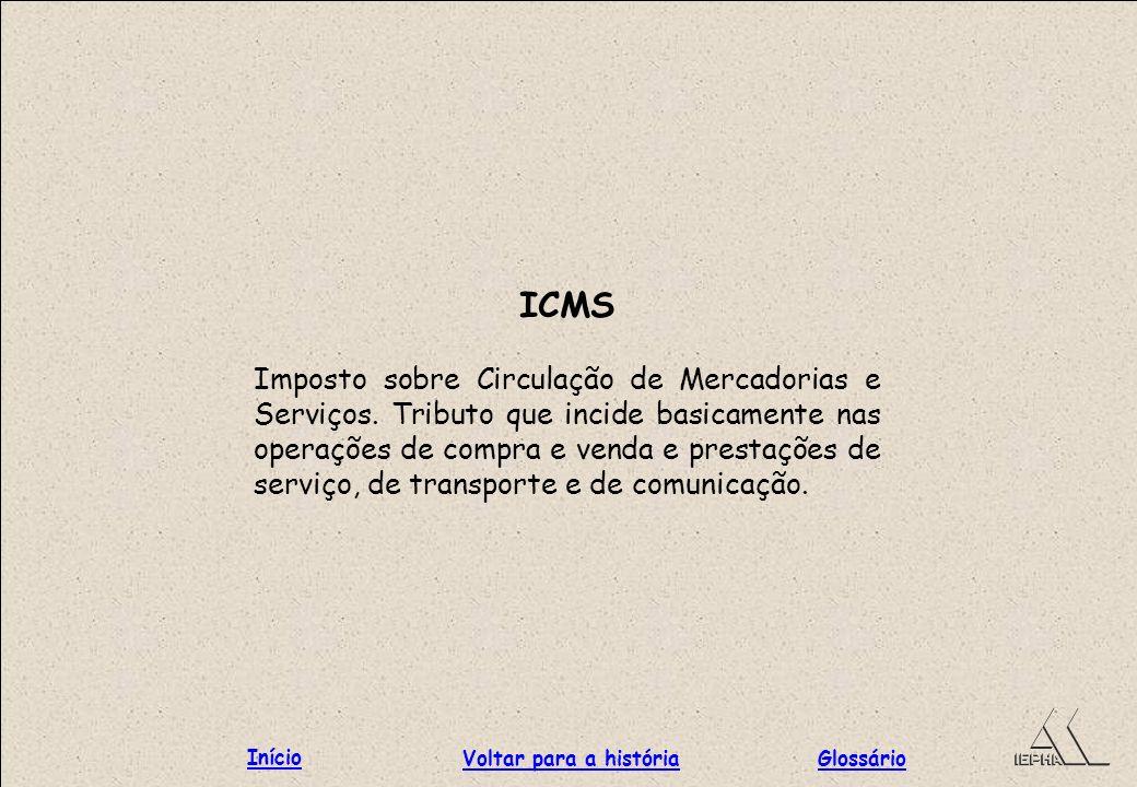 ICMS Imposto sobre Circulação de Mercadorias e Serviços. Tributo que incide basicamente nas operações de compra e venda e prestações de serviço, de tr