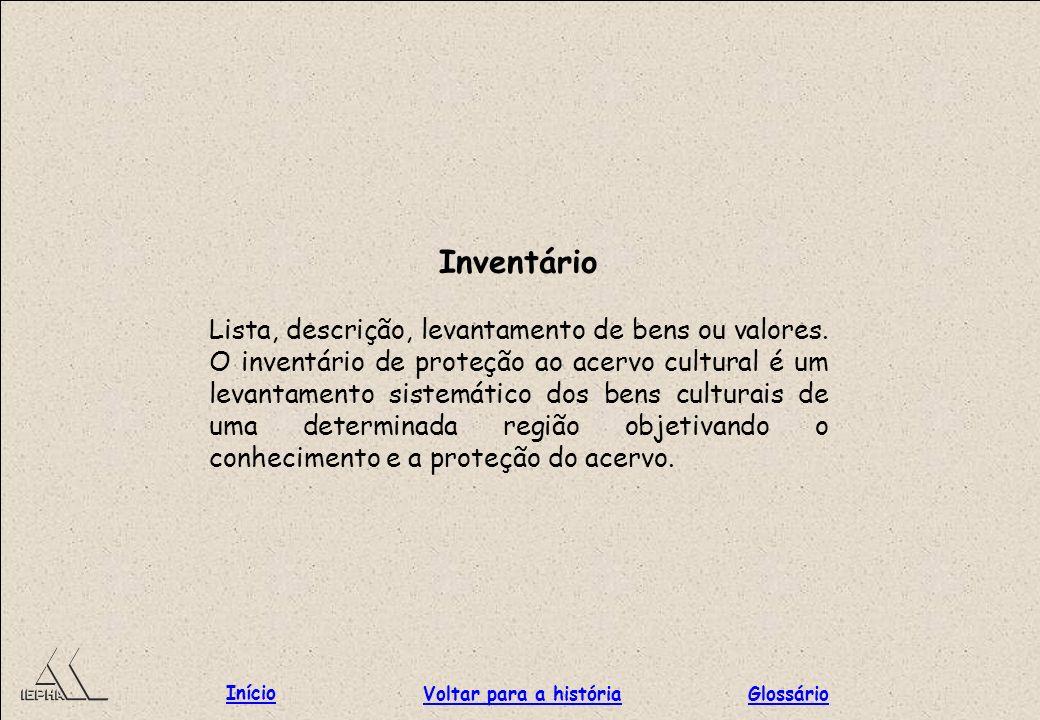 Inventário Lista, descrição, levantamento de bens ou valores. O inventário de proteção ao acervo cultural é um levantamento sistemático dos bens cultu