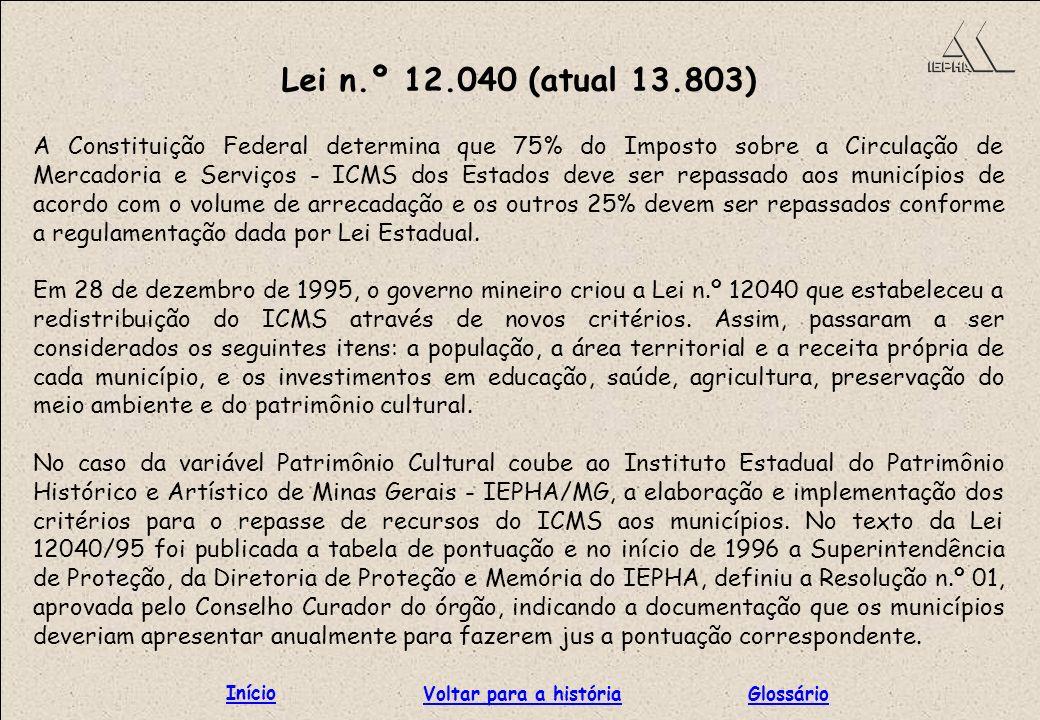 Lei n.º 12.040 (atual 13.803) A Constituição Federal determina que 75% do Imposto sobre a Circulação de Mercadoria e Serviços - ICMS dos Estados deve