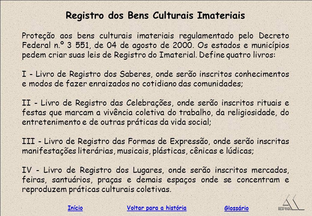 Registro dos Bens Culturais Imateriais Proteção aos bens culturais imateriais regulamentado pelo Decreto Federal n.º 3 551, de 04 de agosto de 2000. O