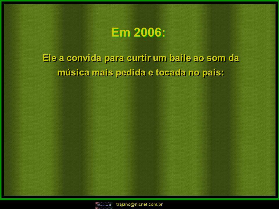 trajano@nicnet.com.br Em 2005: Hoje é festa lá no meu apê, pode aparecer, vai rolar bunda lele!!! Hoje é festa lá no meu apê, tem birita até ao amanhe