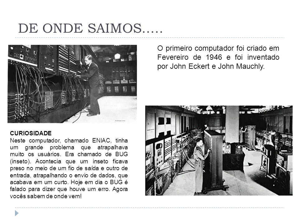 DE ONDE SAIMOS..... O primeiro computador foi criado em Fevereiro de 1946 e foi inventado por John Eckert e John Mauchly. CURIOSIDADE Neste computador