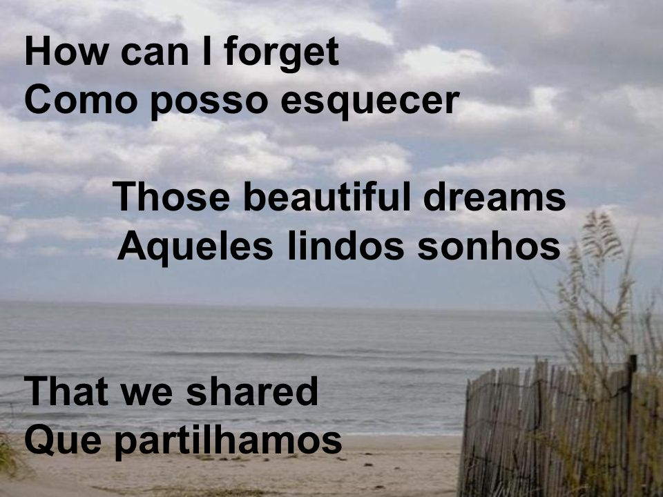 How can I forget Como posso esquecer Those beautiful dreams Aqueles lindos sonhos That we shared Que partilhamos