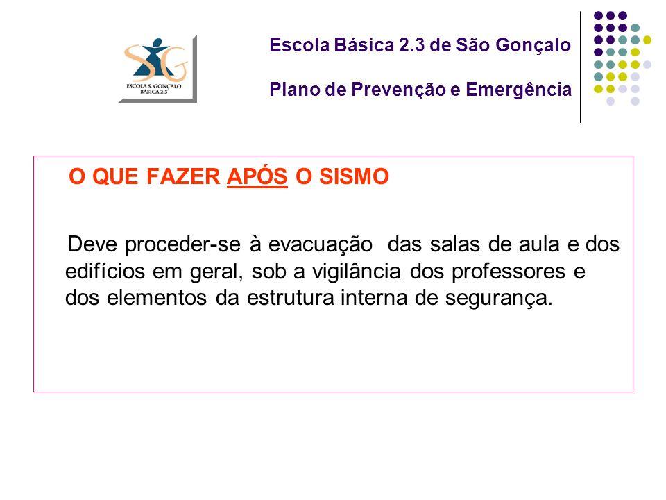 Escola Básica 2.3 de São Gonçalo Plano de Prevenção e Emergência O QUE FAZER APÓS O SISMO Deve proceder-se à evacuação das salas de aula e dos edifícios em geral, sob a vigilância dos professores e dos elementos da estrutura interna de segurança.