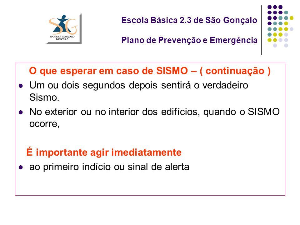 Escola Básica 2.3 de São Gonçalo Plano de Prevenção e Emergência O que esperar em caso de SISMO – ( continuação ) Um ou dois segundos depois sentirá o verdadeiro Sismo.