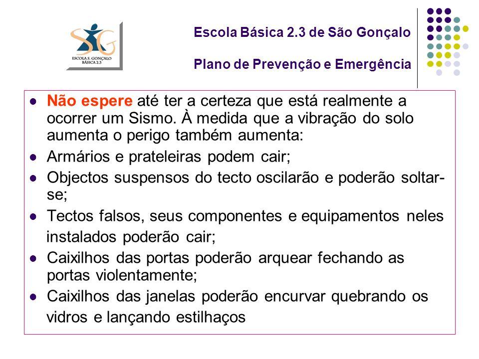 Escola Básica 2.3 de São Gonçalo Plano de Prevenção e Emergência Não espere até ter a certeza que está realmente a ocorrer um Sismo.