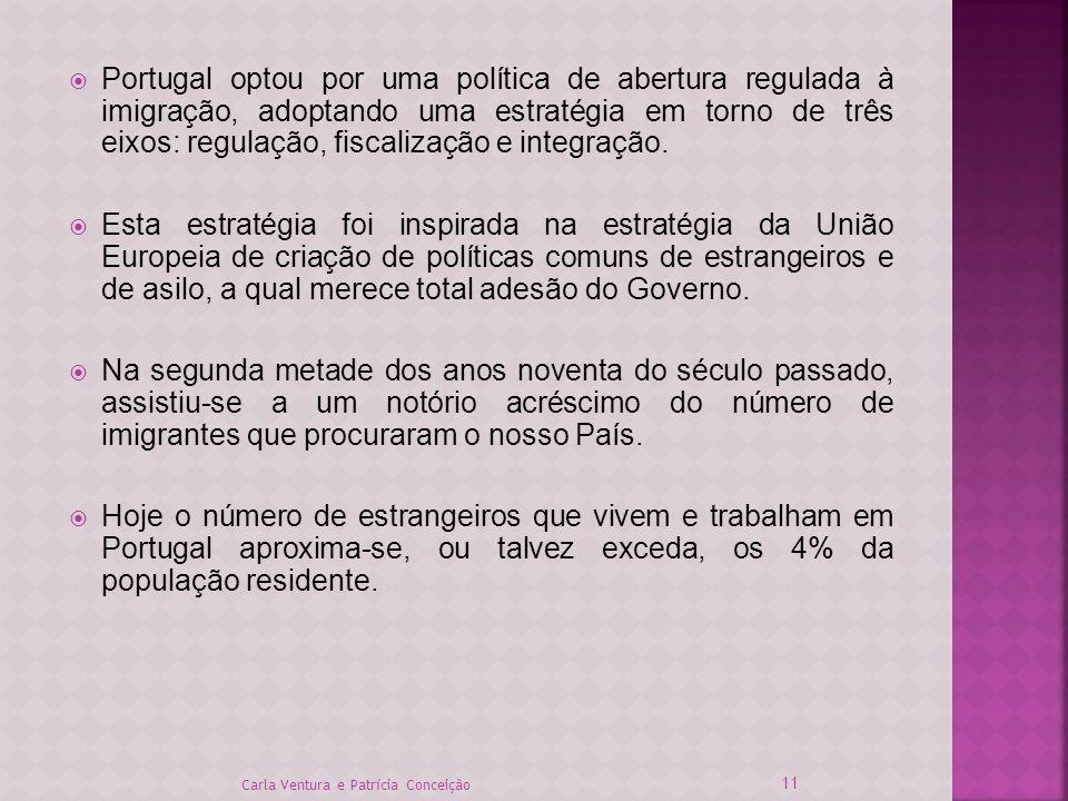 Portugal optou por uma política de abertura regulada à imigração, adoptando uma estratégia em torno de três eixos: regulação, fiscalização e integraçã