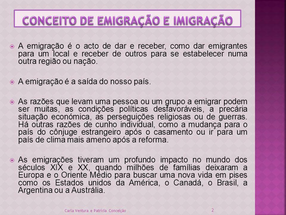 A emigração é o acto de dar e receber, como dar emigrantes para um local e receber de outros para se estabelecer numa outra região ou nação. A emigraç