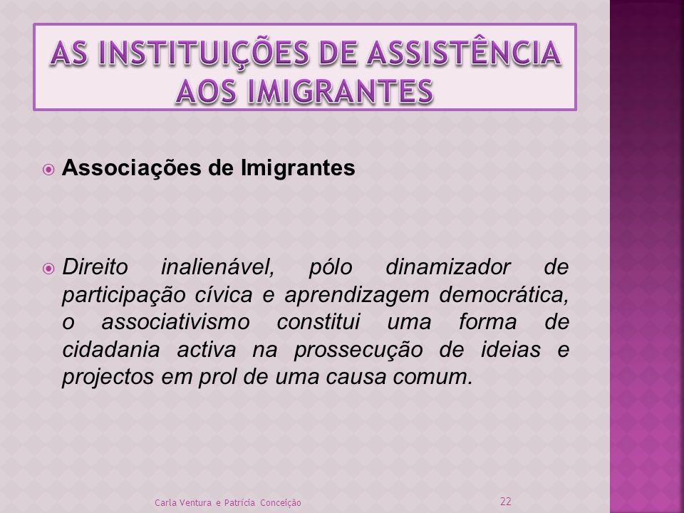 Associações de Imigrantes Direito inalienável, pólo dinamizador de participação cívica e aprendizagem democrática, o associativismo constitui uma form