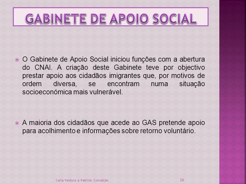 O Gabinete de Apoio Social iniciou funções com a abertura do CNAI. A criação deste Gabinete teve por objectivo prestar apoio aos cidadãos imigrantes q