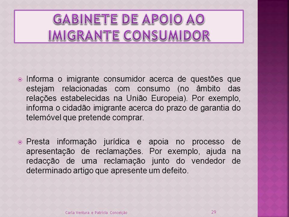 Informa o imigrante consumidor acerca de questões que estejam relacionadas com consumo (no âmbito das relações estabelecidas na União Europeia). Por e
