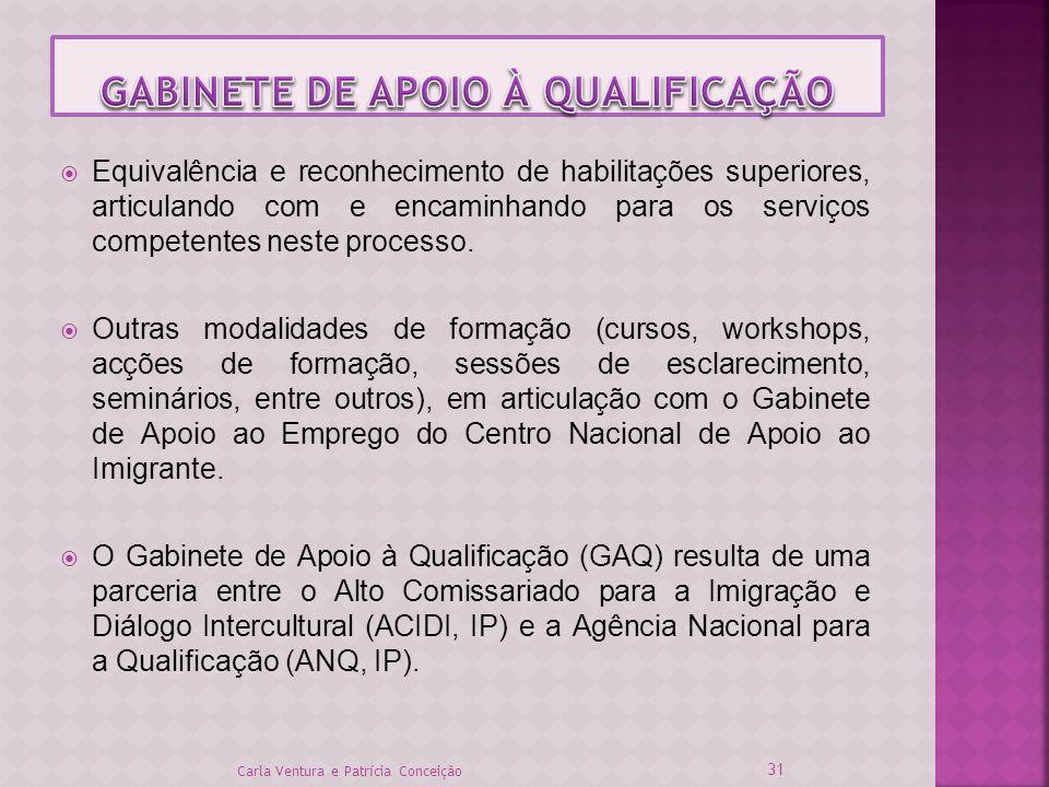 Equivalência e reconhecimento de habilitações superiores, articulando com e encaminhando para os serviços competentes neste processo. Outras modalidad