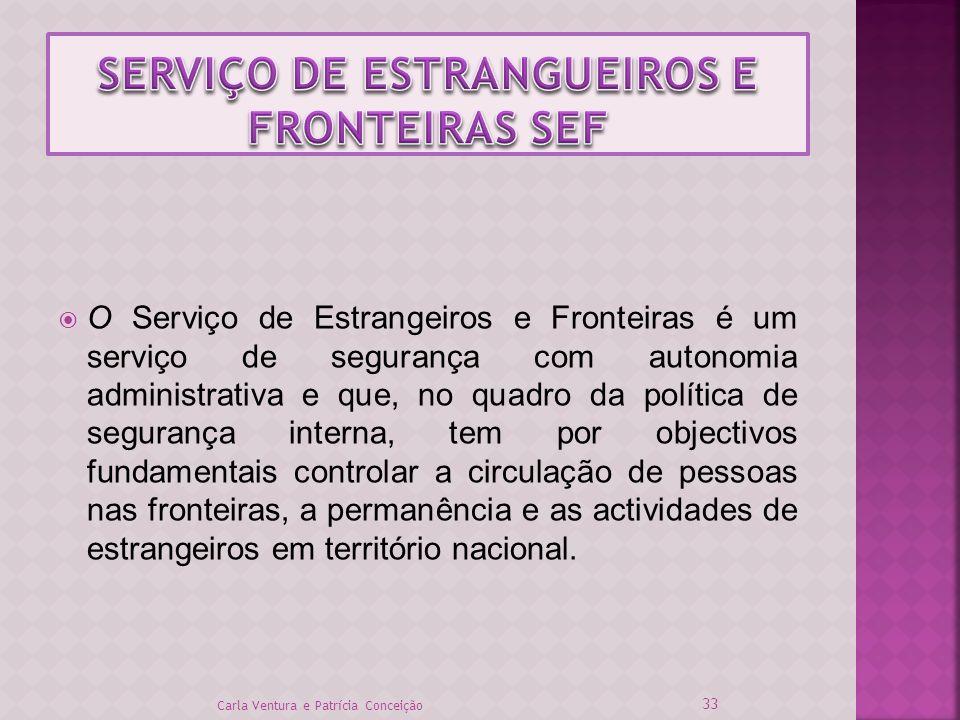 O Serviço de Estrangeiros e Fronteiras é um serviço de segurança com autonomia administrativa e que, no quadro da política de segurança interna, tem p