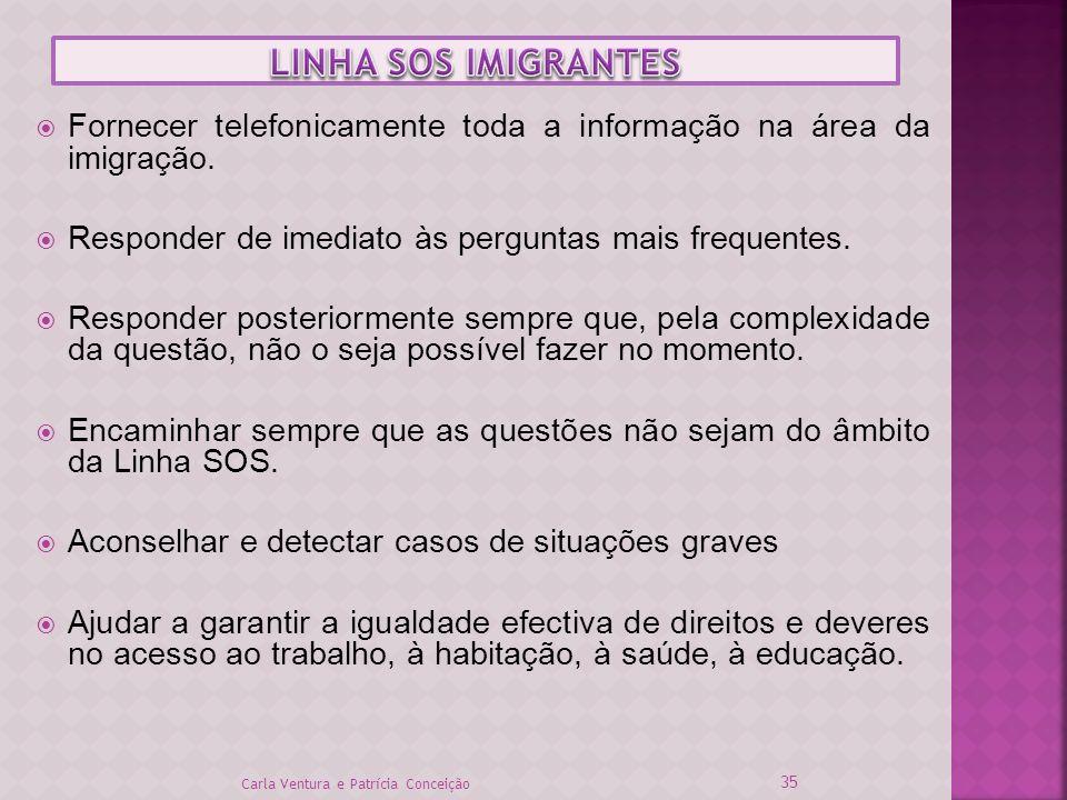 Fornecer telefonicamente toda a informação na área da imigração. Responder de imediato às perguntas mais frequentes. Responder posteriormente sempre q