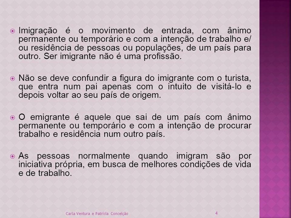Imigração é o movimento de entrada, com ânimo permanente ou temporário e com a intenção de trabalho e/ ou residência de pessoas ou populações, de um p