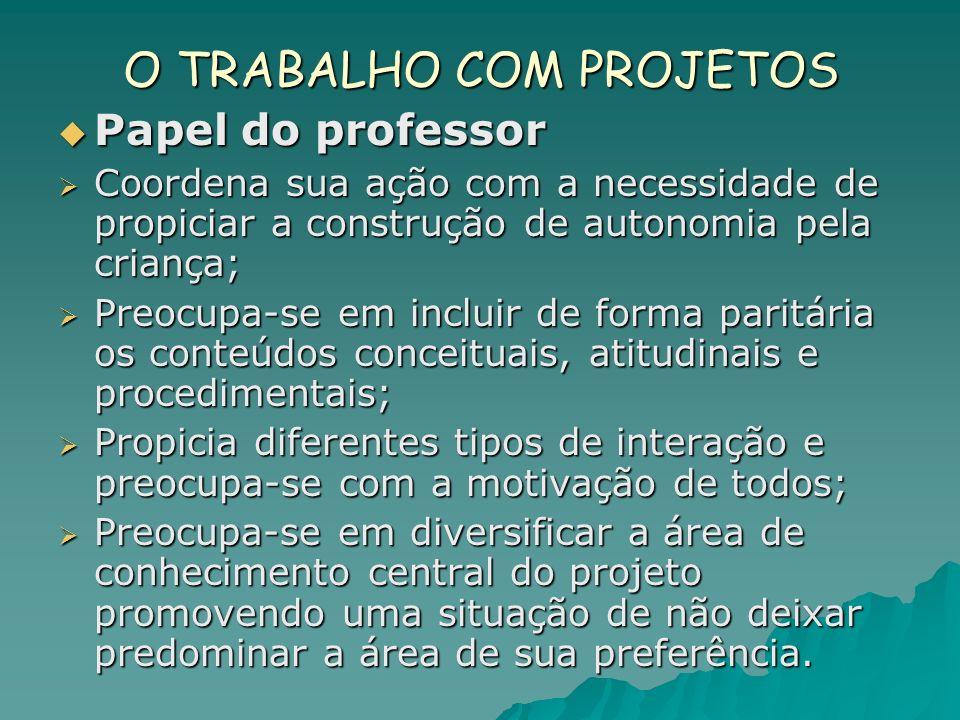 O TRABALHO COM PROJETOS Papel do professor Papel do professor Coordena sua ação com a necessidade de propiciar a construção de autonomia pela criança;