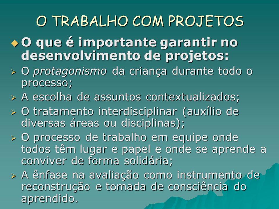 O TRABALHO COM PROJETOS O que é importante garantir no desenvolvimento de projetos: O que é importante garantir no desenvolvimento de projetos: O prot