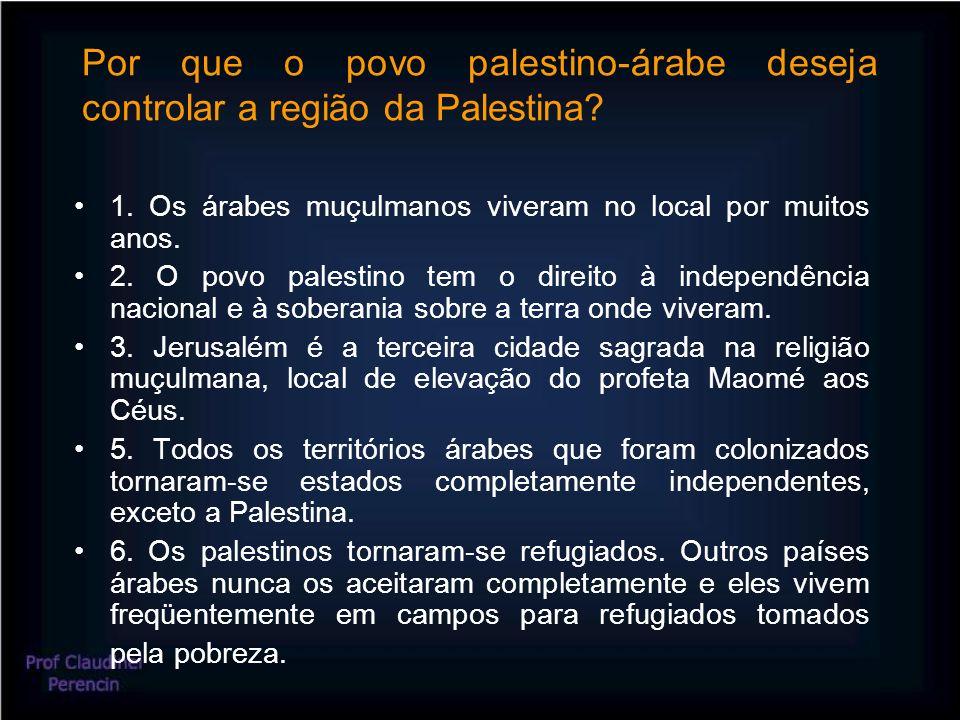 Por que o povo palestino-árabe deseja controlar a região da Palestina.