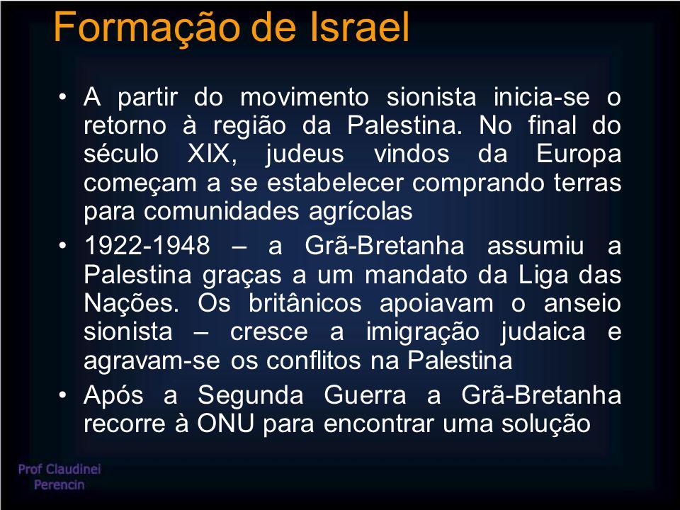 Formação de Israel A partir do movimento sionista inicia-se o retorno à região da Palestina.