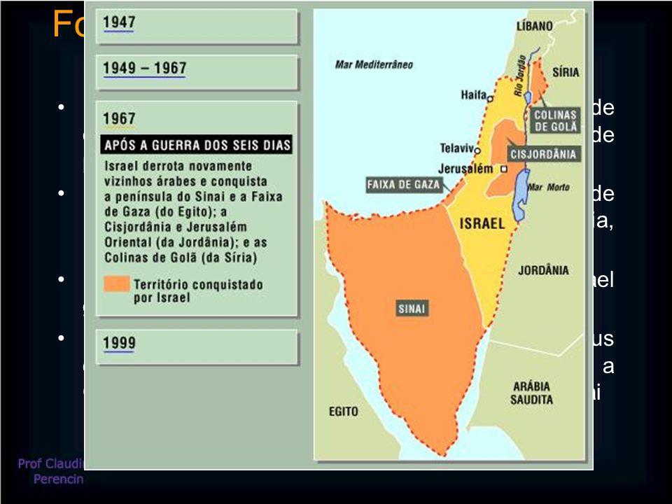 Formação de Israel e conflitos 1947 – a Grã-Bretanha manifesta a intenção de deixar a Palestina e a ONU elabora um plano de partilha da região Maio de 1948 – é proclamado o Estado judeu de Israel, imediatamente atacado pelo Egito, Jordânia, Iraque, Síria e Líbano – Guerra da Independência 1956 – nacionalização do Canal de Suez; Israel garante o domínio do Golfo de Ákaba 1967 – Guerra dos Seis Dias: Israel expande seus domínios ocupando as Colinas de Golan, a Cisjordânia, a Faixa de Gaza e a Península do Sinai