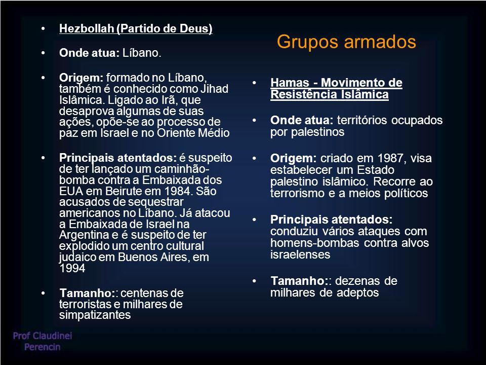 Grupos armados Hezbollah (Partido de Deus) Onde atua: L í bano. Origem: formado no L í bano, tamb é m é conhecido como Jihad Islâmica. Ligado ao Irã,