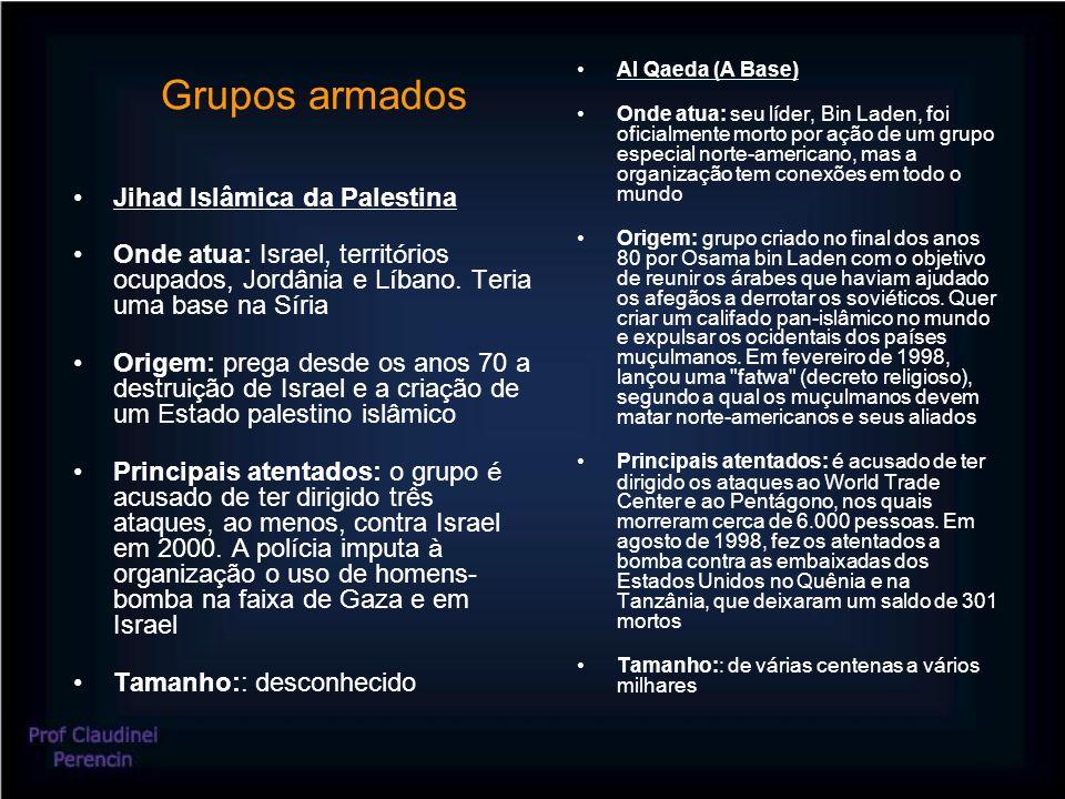 Grupos armados Jihad Islâmica da Palestina Onde atua: Israel, territ ó rios ocupados, Jordânia e L í bano.