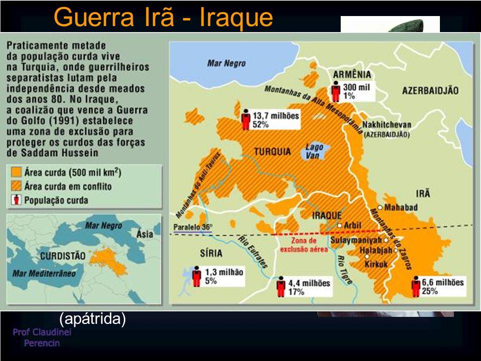 Guerra Irã - Iraque Motivos: Disputa pelo Chatt-el-Arab (foz conjunta dos rios Tigre e Eufrates – única saída do Iraque para o mar – jazidas de petróleo e refinarias) Ódio pessoal de Khomeini contra o Iraque (expulsão para exílio na França) Crescente atuação xiita no Iraque (Saddam Hussein ameaçado no poder) Questão do separatismo curdo (apátrida)